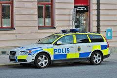 Police car on Kungsholmen in Stockholm Royalty Free Stock Photo