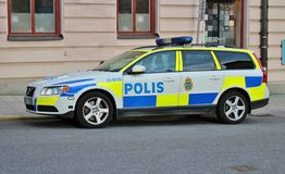 Police car on Kungsholmen in Stockholm Stock Images
