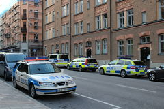 Police car on Kungsholmen in Stockholm Royalty Free Stock Photos