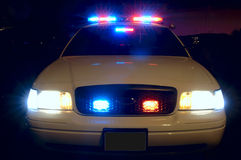 Police Car Lights. Long exposure to capture the full array of police car lights. 12MP camera Stock Photography