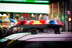 Police car with lights royalty free stock photos