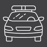 Police car line icon, transport and automobile Royalty Free Stock Images