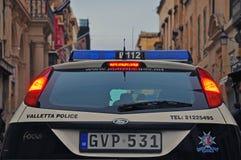 Police car of Malta. VALLETTA, MALTA - FEBRUARY 28: Car of Malta police department on the street of Valletta on february 28, 2014. Valletta is a capital and the Royalty Free Stock Photography