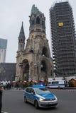 Police car at the memorial church / Christmas Market in Berlin Stock Photo