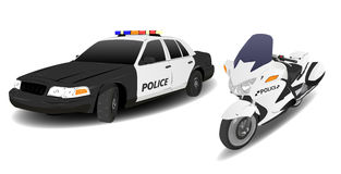 Police Car and Motorbike. Police Car and Motor Bike on White Royalty Free Stock Photos