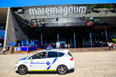 Police car near the  shopping and entertainment center Maremagnum Royalty Free Stock Photography