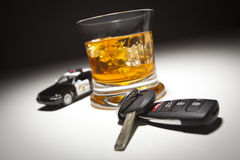 Police Car Next to Alcoholic Drink and Car Keys Royalty Free Stock Photos