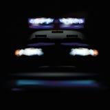 Police car at night and warning light Royalty Free Stock Photos