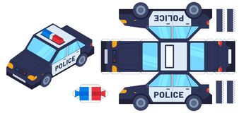 Free Police Car Paper Cut Toy. Kids Crafts, Create Toys With Scissors And Glue. Paper Cop Vehicle, 3d Model Worksheet Vector Royalty Free Stock Photo - 199136535