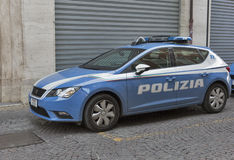 Police car parked near the police station in Rimini, Italy. Stock Photos