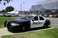 Police car. A police car parked outside the police department of Santa Monica College Royalty Free Stock Images