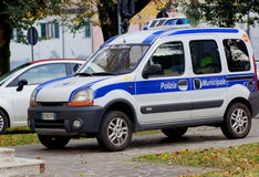 Police car parked on the street Stock Image