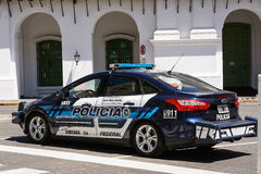 Police car in plaza de Mayo in Buenos aires in a holiday sunday. Buenos Aires, Argentina - October 30, 2016: Police car in plaza de Mayo in Buenos aires in a Stock Photo