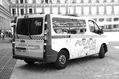 Police car on Plaza Mayor Stock Photography