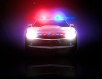 Police car pursued in the dark. With full array of lights and tactical lights Stock Photography