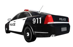 Police Car Rear View Isolated Stock Photos