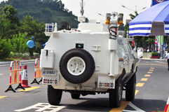 Police car on road. Police car running on road security for 2011 universiade,shenzhen,china Stock Image