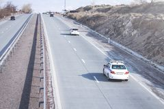 Police car on the road. Transport Royalty Free Stock Image