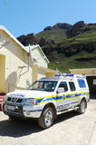 Police car at Sani Pass border control between South Africa and Lesotho Stock Photography