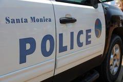 Police car of Santa Monica Police Department at the Pier of Santa Monica. CA. USA Stock Image