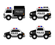Police Car Set. Classic Black and White Colors. Vector Stock Images