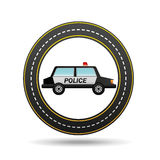 Police car side circle road way design Royalty Free Stock Photos