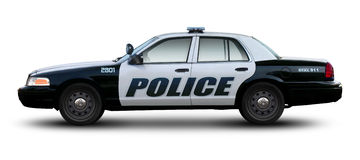 Police car side view. Police car side view isolated on white background Royalty Free Stock Photos