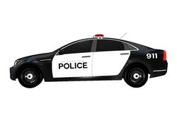 Police Car Side View Royalty Free Stock Photos