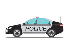 Police car side view isolated on white background. Royalty Free Stock Photo