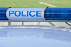 Police car sign. siren light. Blue police car sign. siren light royalty free stock photography