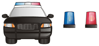 Police car and sirens Stock Images
