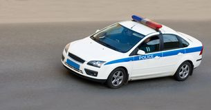 POLICE CAR speed. A Police Car speed to a place of crime Royalty Free Stock Photography