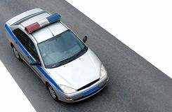 POLICE CAR speed. A Police Car speed to a place of crime Stock Photo