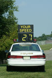 Police Car Speed Check Stock Photo