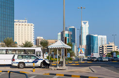 Police car on the srtreet of Manama city, Bahrain Kingdom Royalty Free Stock Photo