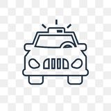 Police car with steering wheel vector icon isolated on transparent background, linear Police car with steering wheel transparency. Police car with steering wheel stock illustration