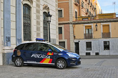 Police car in the street of Barcelona, Spain Royalty Free Stock Images