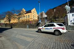Police car on the street in Bergen. Police car patroling the tourist town Bergen Royalty Free Stock Photography