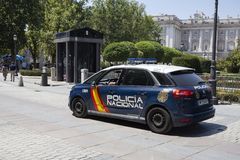 Police car on the street of Madrid, Spain. 2018-08-05 royalty free stock photos