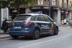 Police car on the street of Madrid, Spain. 2018-08-07 royalty free stock image