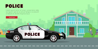 Police Car on the Street near Bank with Robber. Stock Photo