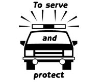 Police car symbol. And text on white background Royalty Free Stock Photo