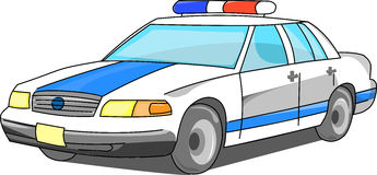 Police car in three quarters Royalty Free Stock Image