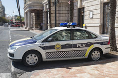 Police car in Valencia, Spain Stock Image