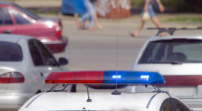 Free Police Car With Sirens Red And Blue Color Stock Photo - 94169100