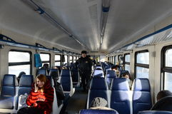 Police in the carriage commuter trains. Stock Image