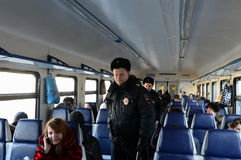 Police in the carriage commuter trains. Royalty Free Stock Image