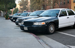 Police cars. Lined up in a row Stock Images