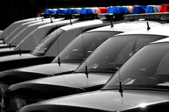 Police Cars. Row of Police Cars with Blue and Red Lights Royalty Free Stock Photo