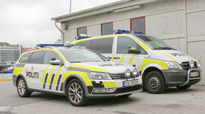 Police cars. BERGEN / NORWAY June 25, 2016. Norway crown family visit to Bergen. Security Stock Photos
